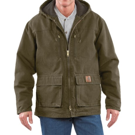 Carhartt Sandstone Jackson Coat - Sherpa Lined (For Men)  in Army Green