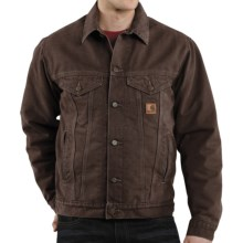 Carhartt Sandstone Jean Jacket - Sherpa Lined (For Men) in Dark Brown - 2nds