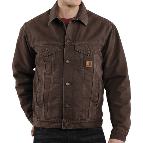 Carhartt Sandstone Jean Jacket - Sherpa Lined (For Men) in Dark Brown