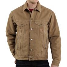 Carhartt Sandstone Jean Jacket - Sherpa Lined (For Men) in Frontier Brown - 2nds