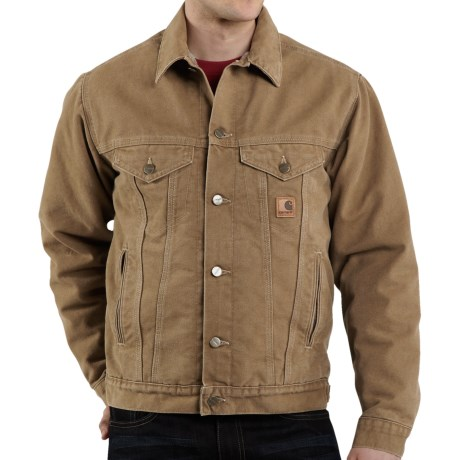Carhartt Sandstone Jean Jacket - Sherpa Lined (For Men) in Frontier Brown