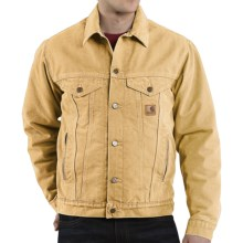 Carhartt Sandstone Jean Jacket - Sherpa Lined (For Men) in Wheat - 2nds