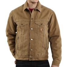 Carhartt Sandstone Jean Jacket - Sherpa-Lined (For Tall Men) in Frontier Brown - 2nds
