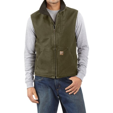 Carhartt Sandstone Mock Neck Vest - Sherpa Lined, Factory Seconds (For Men) in Army Green