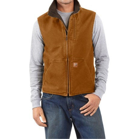Carhartt Sandstone Mock Neck Vest - Sherpa Lined, Factory Seconds (For Men) in Carhartt Brown