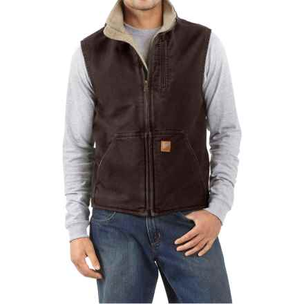 Carhartt Sandstone Mock Neck Vest - Sherpa Lined, Factory Seconds (For Men) in Dark Brown - 2nds
