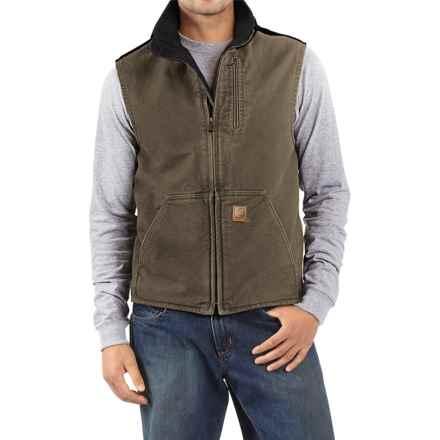 Carhartt Sandstone Mock Neck Vest - Sherpa Lined, Factory Seconds (For Men) in Light Brown/Black - 2nds