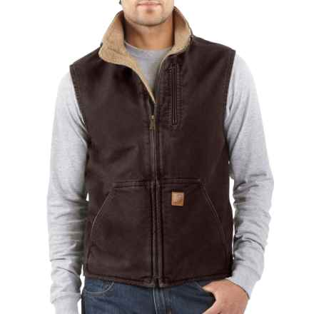Carhartt Sandstone Mock Neck Vest - Sherpa Lined (For Big and Tall Men) in Dark Brown - 2nds