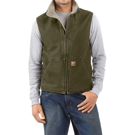 Carhartt Sandstone Mock Neck Vest - Sherpa Lining, Factory Seconds (For Tall Men) in Army Green