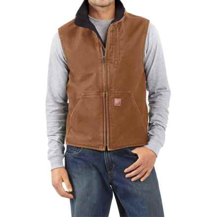 Carhartt Sandstone Mock Neck Vest - Sherpa Lining, Factory Seconds (For Tall Men) in Carhartt Brown - 2nds