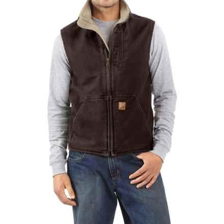 Carhartt Sandstone Mock Neck Vest - Sherpa Lining, Factory Seconds (For Tall Men) in Dark Brown - 2nds