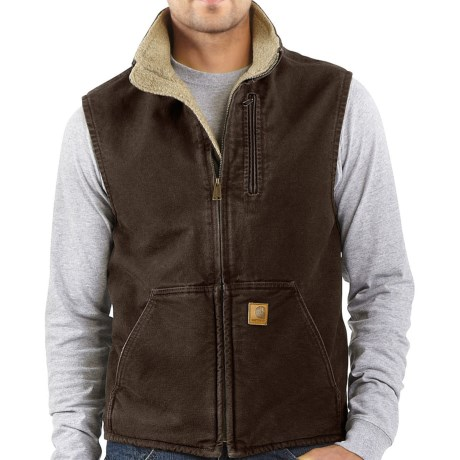 Carhartt Sandstone Mock Neck Vest - Sherpa Lining (For Big Men) in Dark Brown