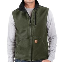 Carhartt Sandstone Mock Neck Vest - Sherpa Lining (For Big Men) in Moss/Black - 2nds