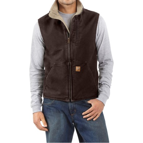 Carhartt Sandstone Mock Neck Vest - Sherpa Lining (For Men) in Dark Brown