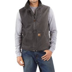 Carhartt Sandstone Mock Neck Vest - Sherpa Lining (For Men) in Gravel