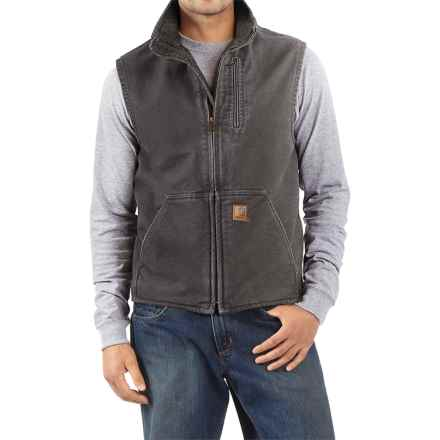 Carhartt Sandstone Mock Neck Vest - Sherpa Lining (For Men) in Gravel - 2nds