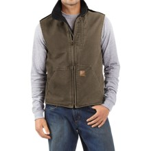Carhartt Sandstone Mock Neck Vest - Sherpa Lining (For Men) in Light Brown/Black - 2nds