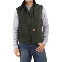 Carhartt Sandstone Mock Neck Vest - Sherpa Lining (For Men) in Moss/Black - 2nds