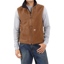 Carhartt Sandstone Mock Neck Vest - Sherpa Lining (For Tall Men) in Carhartt Brown - 2nds