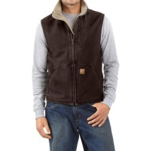Carhartt Sandstone Mock Neck Vest - Sherpa Lining (For Tall Men) in Dark Brown - 2nds