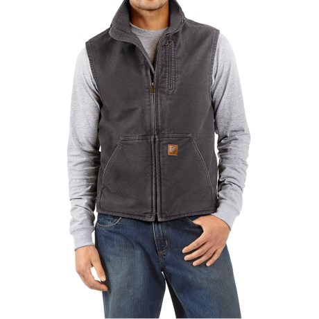 Carhartt Sandstone Mock Neck Vest - Sherpa Lining (For Tall Men)