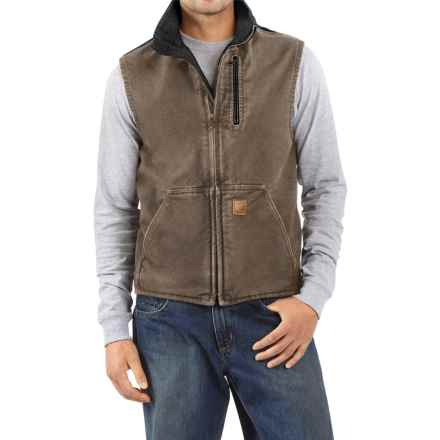 Carhartt Sandstone Mock Neck Vest - Sherpa Lining (For Tall Men) in Light Brown/Black - 2nds