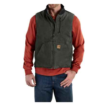 Carhartt Sandstone Mock Neck Vest - Sherpa Lining (For Tall Men) in Moss/Black - 2nds