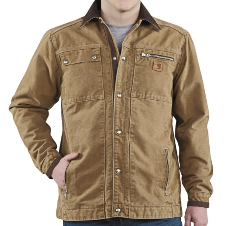 Carhartt Sandstone Multi-Pocket Jacket - Quilt Lined (For Men) in Army Green
