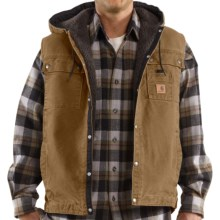 Carhartt Sandstone Multi-Pocket Vest - Hooded, Snap Front, Sherpa Lining (For Big Men) in Frontier Brown - 2nds
