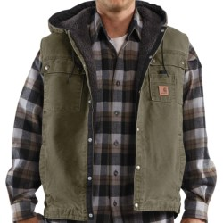 Carhartt Sandstone Multi-Pocket Vest - Hooded, Snap Front, Sherpa Lining (For Men) in Army Green