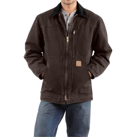 Carhartt Sandstone Ridge Coat - Sherpa Pile, Factory Seconds (For Tall Men) in Dark Brown
