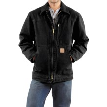 Carhartt Sandstone Ridge Coat - Sherpa Pile Lining (For Men) in Black - 2nds