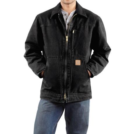 Carhartt Sandstone Ridge Coat - Sherpa Pile Lining (For Tall Men) in Black