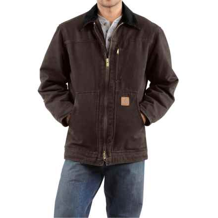 Carhartt Sandstone Ridge Coat - Sherpa Pile Lining (For Tall Men) in Dark Brown - 2nds