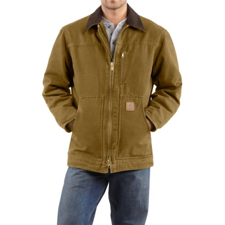 Carhartt Sandstone Ridge Coat - Sherpa Pile Lining (For Tall Men) in Frontier Brown