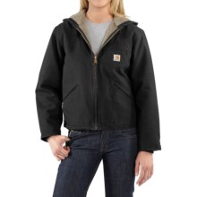Carhartt Sandstone Sierra Hooded Jacket with Sherpa Lining (For Women) in Black - 2nds
