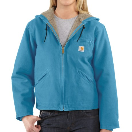 Carhartt Sandstone Sierra Hooded Jacket with Sherpa Lining (For Women) in Blue Topaz