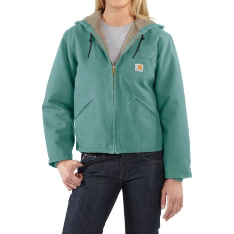 Carhartt Sandstone Sierra Hooded Jacket with Sherpa Lining (For Women) in Coastline