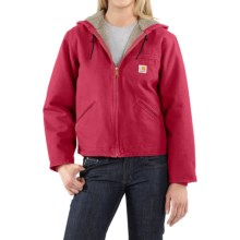 Carhartt Sandstone Sierra Hooded Jacket with Sherpa Lining (For Women) in Crab Apple - 2nds