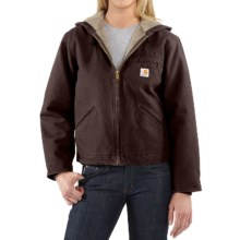 Carhartt Sandstone Sierra Hooded Jacket with Sherpa Lining (For Women) in Dark Brown - 2nds