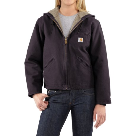 Carhartt Sandstone Sierra Hooded Jacket with Sherpa Lining (For Women) in Deep Wine