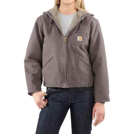 Carhartt Sandstone Sierra Hooded Jacket with Sherpa Lining (For Women) in Taupe Grey - 2nds