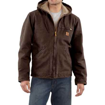 Carhartt Sandstone Sierra Jacket - Sherpa Lining, Factory Seconds (For Big Men) in Dark Brown - 2nds