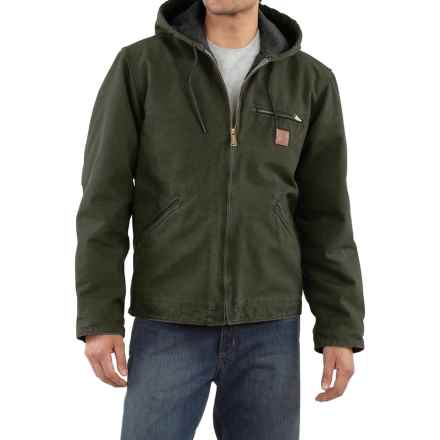 Carhartt Sandstone Sierra Jacket - Sherpa Lining, Factory Seconds (For Big Men) in Moss - 2nds