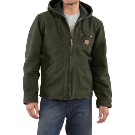 Carhartt Sandstone Sierra Jacket - Sherpa Lining, Factory Seconds (For Big Men) in Moss