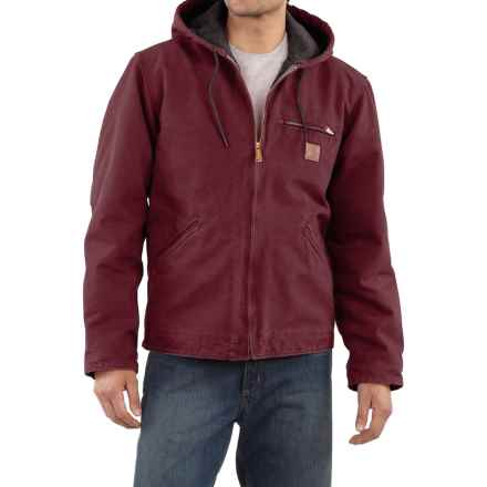 Carhartt Sandstone Sierra Jacket - Sherpa Lining, Factory Seconds (For Big Men) in Port - 2nds