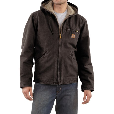 Carhartt Sandstone Sierra Jacket - Sherpa Pile, Factory Seconds (For Tall Men) in Dark Brown