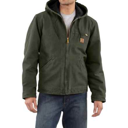 Carhartt Sandstone Sierra Jacket - Sherpa Pile, Factory Seconds (For Tall Men) in Moss - 2nds