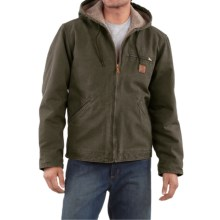 Carhartt Sandstone Sierra Jacket - Sherpa Pile Lining (For Big Men) in Army Green - 2nds