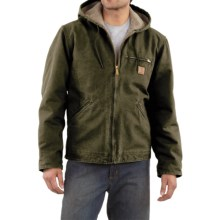 Carhartt Sandstone Sierra Jacket - Sherpa Pile Lining (For Men) in Army Green - 2nds